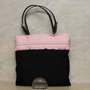 Prada Small DBL Handle Lined Black Pink Bag NWT
